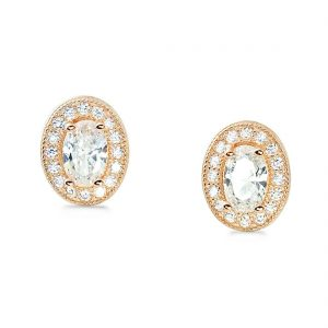 Rose Gold Plated Sterling Silver Oval CZ Halo Earrings Stud