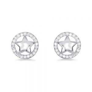 Cz Sterling Silver Star Earrings Studs