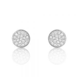 Sterling Silver Mini Pave Disc Round Circle Stud Earrings