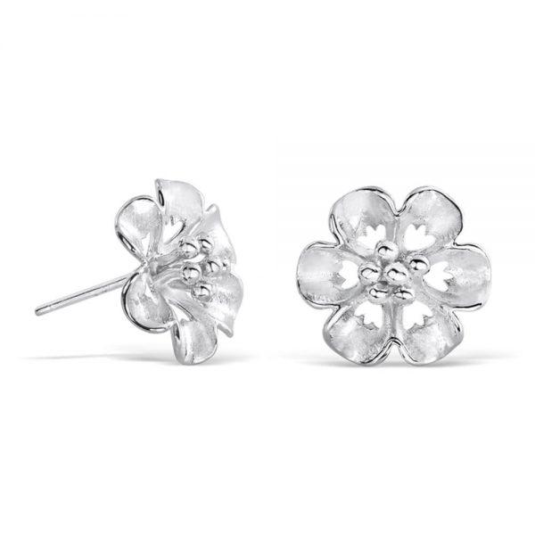 Sterling Silver Flower Stud Earrings for Women
