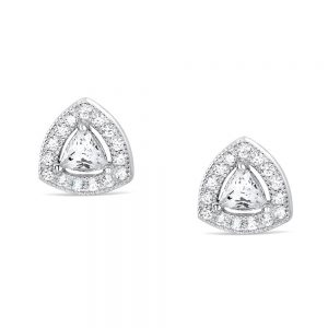 Sterling Silver Trillion Cubic Zirconia Earrings Studs