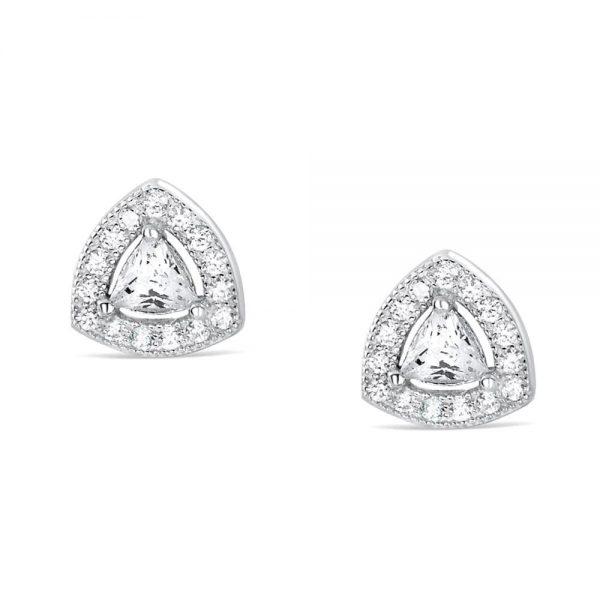 Sterling Silver Trillion Cubic Zirconia Earrings Studs