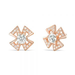 Rose Gold Plated Sterling Silver 4mm CZ Earrings Studs