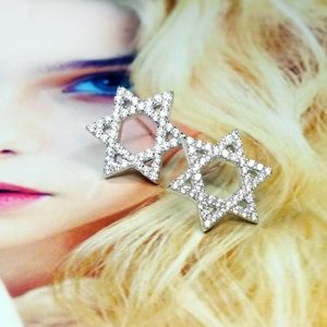 Sterling Silver CZ Star of David Earrings Studs