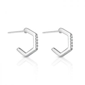 Sterling Silver CZ Half Hoop Stud Earrings