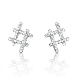 Sterling Silver CZ Hashtag Earrings
