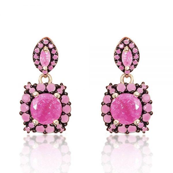 Sterling Silver Rose Quartz Dangle Earrings
