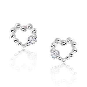 Sterling Silver Bead Heart Earrings Studs