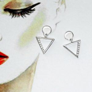 Disc Post & Triangle Stud Earrings Drop