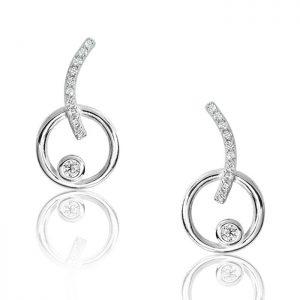 Beautiful Sterling Silver Circular Stud Earrings