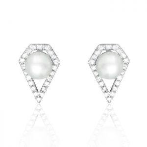 Sterling Silver Stylish Fashion Pearl Earrings Stud
