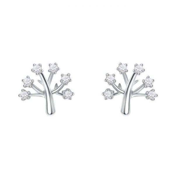 Sterling Silver Cz Tree of Life Earrings Studs