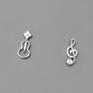 Guitar Treble Clef Earrings Studs