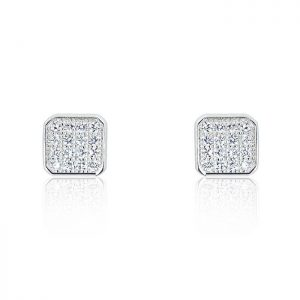 Sparkling Square 925 Sterling Silver Cubic Zirconia Earrings