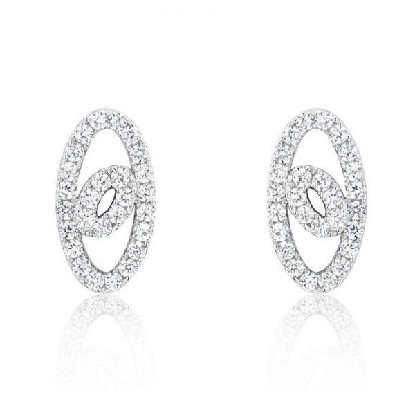 Elegant Oval 925 Sterling Silver Cubic Zirconia Earrings