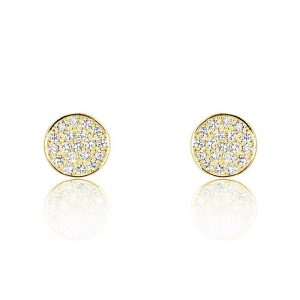 18K Gold Plated Silver Cubic Zirconia Modern Circle Earrings