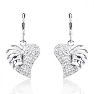 Wonderful Heart 925 Sterling Silver Micro Pave Setting CZ Earrings