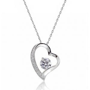 "Gorgeous 1.4 Ct Cubic Zirconia 925 Silver Heart Pendant Necklace 16""+ 2"""