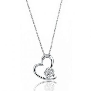 "Beautiful Heart 925 Sterling Silver CZ Pendant Necklace 16""+ 2"" Extender"