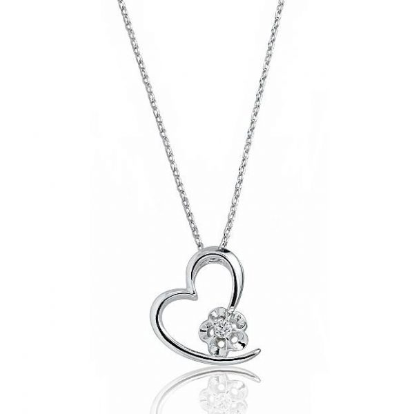 """Beautiful Heart 925 Sterling Silver CZ Pendant Necklace 16""""+ 2"""" Extender"""