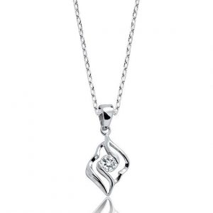 "Classic 925 Sterling Silver CZ Pendant Necklace 16""+ 2"""
