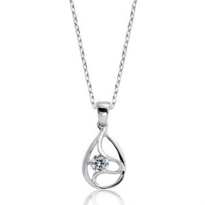 "Classic 925 Sterling Silver 0.45 Carat Cubic Zirconia Pendant Necklace 16""+ 2"" Extender"