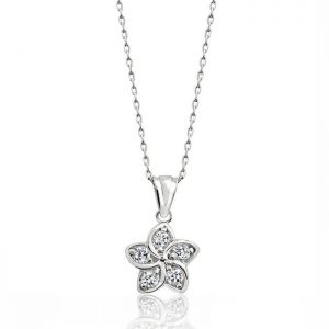 "Sterling Silver Cubic Zirconia Beautiful Flower Pendant Necklace 16""+ 2"" Extender"