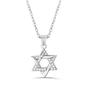 "Sterling Silver Cubic Zirconia Star Of David Necklace 16""+ 2"" Extender"
