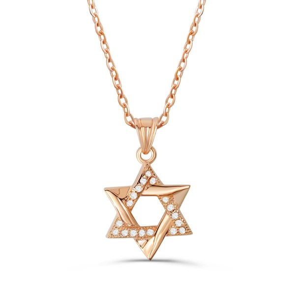 """Rose Gold Plated 925 Sterling Silver CZ Star Of David Pendant Necklace 16""""+ 2"""""""