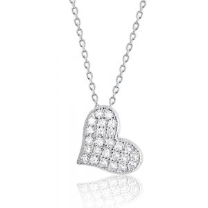 "Cubic Zirconia 925 Sterling Silver Beautiful Cute Heart Pendant Necklace 16""+ 2"""