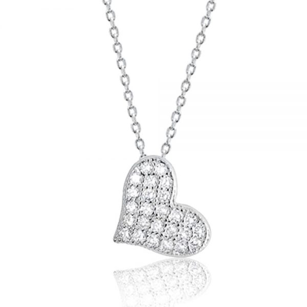 """Cubic Zirconia 925 Sterling Silver Beautiful Cute Heart Pendant Necklace 16""""+ 2"""""""