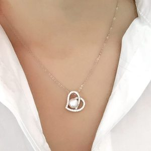 "Sterling Silver 0.6 Carat CZ Heart 8-9 mm Pearl Necklace 16""+ 2"""