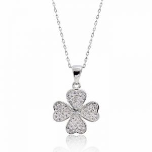 "Pretty 925 Sterling Silver Micro Pave CZ Lucky Leaf Necklace 16""+ 2"""