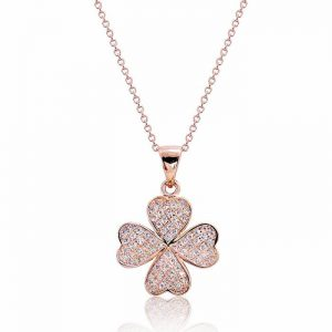 """Pretty 925 Sterling Silver Micro Pave CZ Lucky Leaf Necklace 16""""+ 2"""" Rose"""