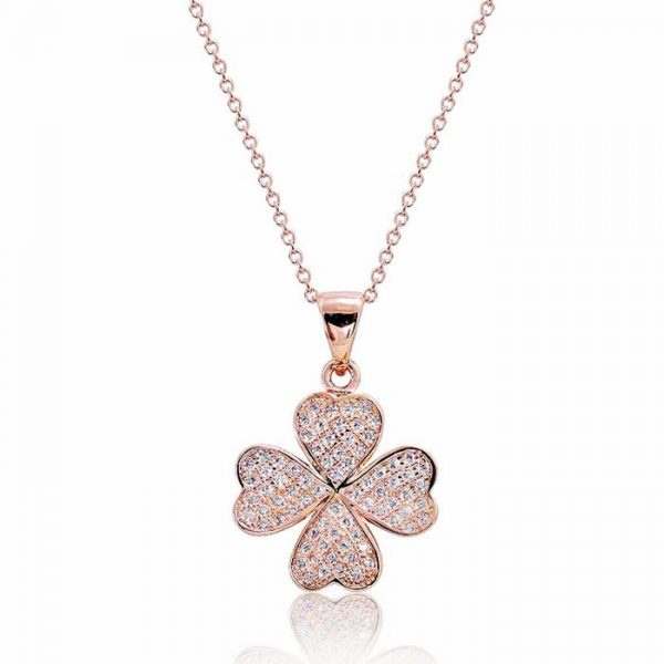 "Pretty 925 Sterling Silver Micro Pave CZ Lucky Leaf Necklace 16""+ 2"" Rose"