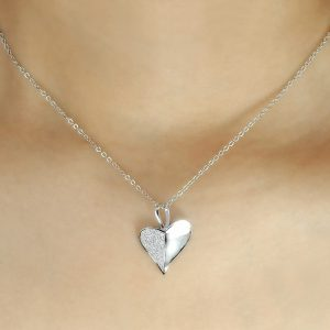 "925 Sterling Silver Micro Pave Setting CZ Heart Leaf Necklace 16""+ 2"""