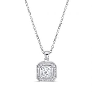 "925 Silver Octagonal Cut CZ Necklace 16""+ 2"""