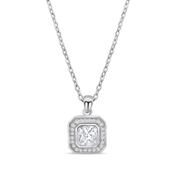 "925 Silver Octagonal Cut CZ Necklace 16""+ 2"""