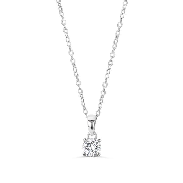 "925 Sterling Silver Solitaire 1.4 Carat Cubic Zirconia Necklace 16""+ 2"" Extender"