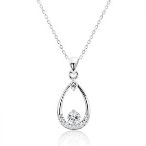 "Beautiful 925 Sterling Silver Cubic Zirconia Pendant Necklace 16""+ 2"" Extender"