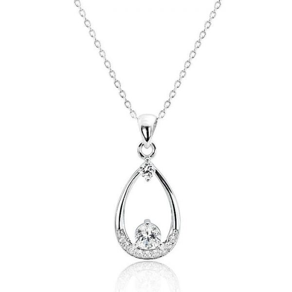"""Beautiful 925 Sterling Silver Cubic Zirconia Pendant Necklace 16""""+ 2"""" Extender"""