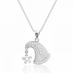 "925 Sterling Silver CZ Adorable Hat Pendant Necklace 16""+ 2"" Extender"