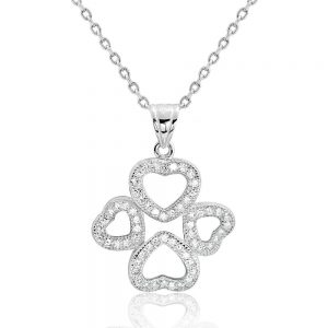 Sterling Silver Cubic Zirconia Wonderful Four Heart Pendant Necklace