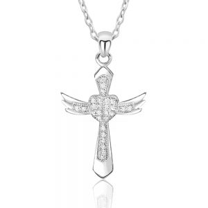 Gorgeous Angel Wings Cross Cubic Zirconia Silver Necklace