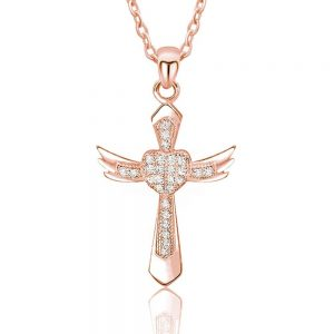 Gorgeous Angel Wings Cross Cubic Zirconia Silver Rose Necklace