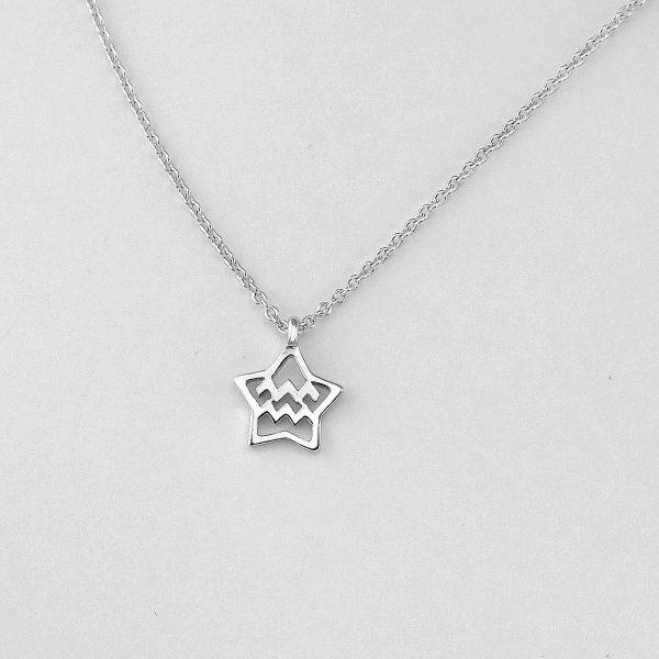 Silver Star Aquarius Necklace - 20/1 to 18/2