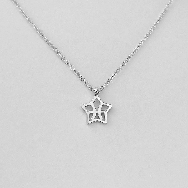 Silver Star Pisces Necklace - 19/2 to 20/3
