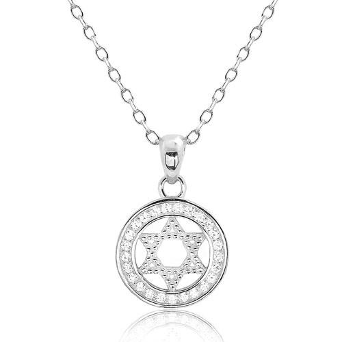 Beautiful 925 Sterling Silver CZ Star of David Pendant Necklace
