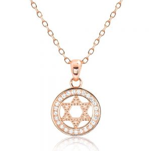 Beautiful Rose Gold Plated 925 Silver CZ Star of David Pendant Necklace