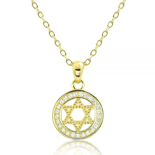Beautiful 18K Gold Plated 925 Silver CZ Star of David Pendant Necklace